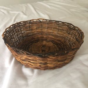 Vintage Round Wicker Woven Basket 12 Inches